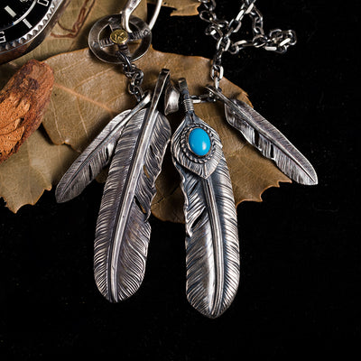 Silver Feather Natural Turquoise Necklace Set Native American Style
