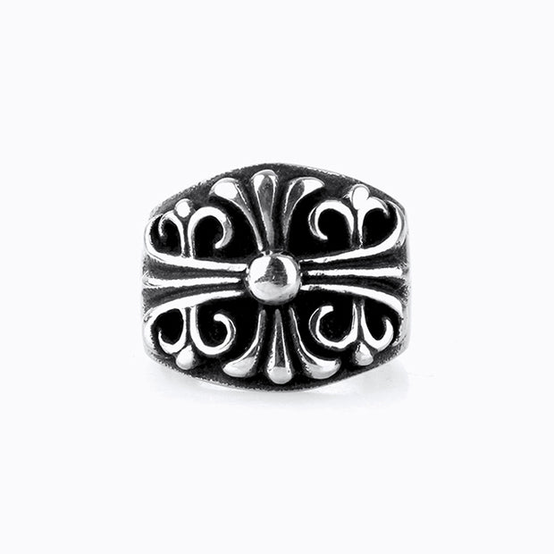 Floral Cross Gothic Punk Rock Biker Style Titanium Stainless Steel Ring