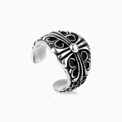 Floral Cross Gothic Punk Rock Biker Titanium Stainless Steel Open Ring