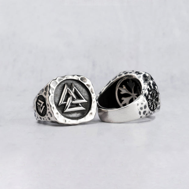 Sterling Silver Viking Valknut Norse Hammered Ring