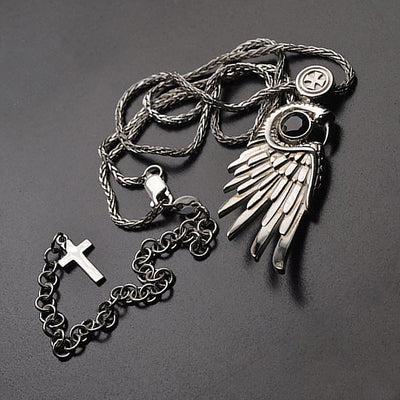 Medieval Silver Wing Claw Cross Pendant Necklace
