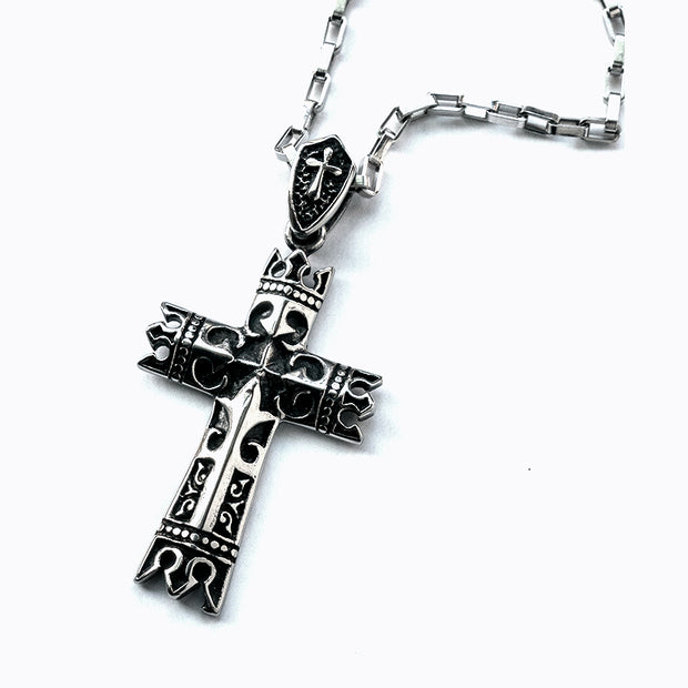 Gothic Cross Box Chain Stainless Steel Necklace