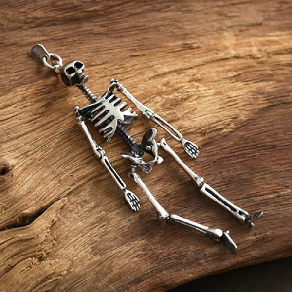 "Sterling Silver Skeleton Pendant Necklace with Sterling Silver Bead Chain 20""-30"""