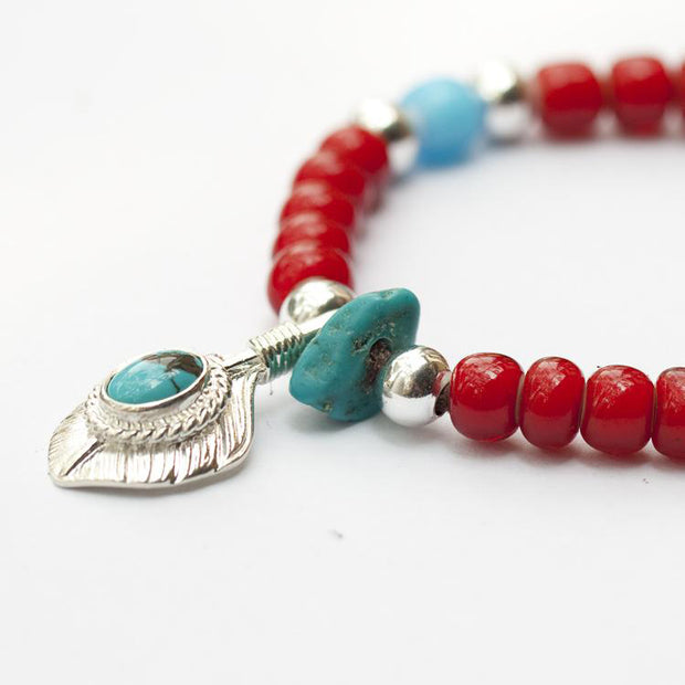 Native American Style Glaze Beads Solid Silver Turquoise Feather Charms Bracelet