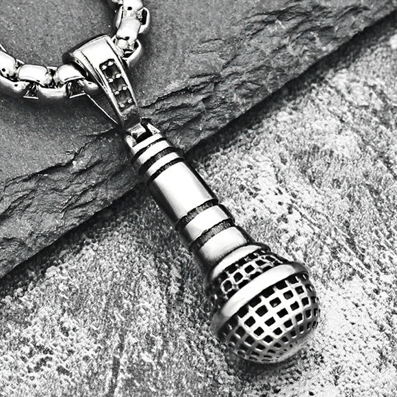 Microphone Titanium Steel Pendant Necklace