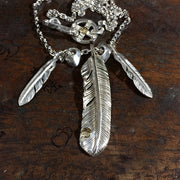 Solid Sterling Silver Feathers Necklace Solid 925 Sterling Silver