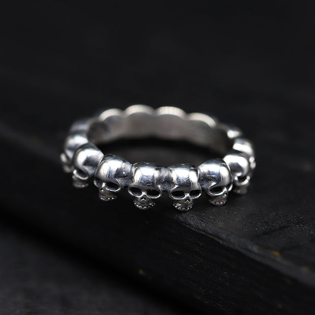 Baby Skull Ring | Skull Wrap Band Ring | 925 Sterling Silver, Gothic, Punk, Rock, Bike Ring