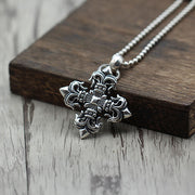 Floral Flame Cross Pendant 925 Sterling Silver