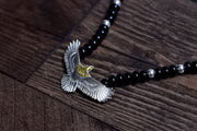 Silver Spread Wings Eagle Hawk Glass Beads Necklace