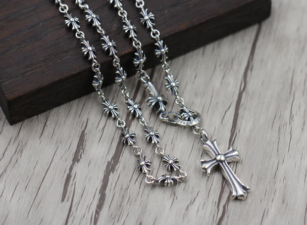 Cross Floral Pendant Chain Necklace Gothic Chrome Hearts Style 925 Sterling Silver Punk Rock Biker Jewelry