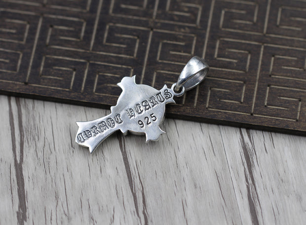 Gothic Cross Pendant Chrome Style 925 Sterling Silver Biker Punk Rock Jewelry