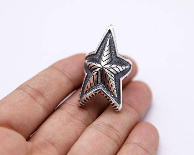 Retro Style Depp Star Sterling Silver Ring