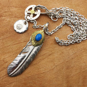 Solid Sterling Silver Natural Turquoise Feather Pendant Necklace