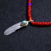 Silver Feather Natural Sleeping Beauty Turquoise Beaded Necklace