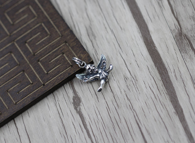 Angle Cupid Skull Pendant 925 Sterling Silver