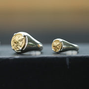 18K Gold Ancient Greek Coin Ring Signet Sterling Silver Ring - Style B (S)