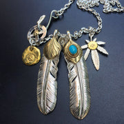 Goro's Style 925 Sterling Silver Turquoise Decal Feather Pendant Necklace