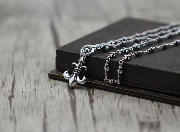 Fleur De Lis Pendant Cross Chain Necklace Gothic Chrome Hearts Style 925 Sterling Silver Punk Rock Biker Jewelry
