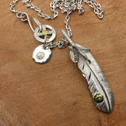 Takahashi Goro's Style Eagle Claw Feather Pendant Necklace