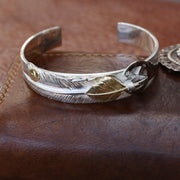 Silver Feather Sunflower Leaf Top Bangle Bracelet