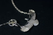 Silver Spread Wings Eagle Hawk Necklace
