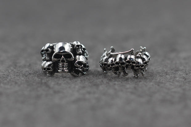 Skull Wrap Open Ring Solid 925 Sterling Silver