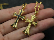 24K Plated Cubic Zirconia Cross Pendant Solid 925 Sterling Silver