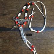 Silver Spared Eagle Feather Glaze Beads Leather Cord Necklace
