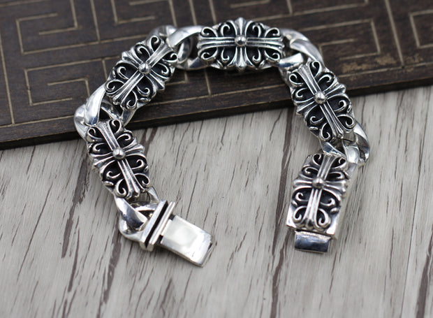 Floral Cross Chrome Hearts Style Gothic Punk Rock Biker Bracelet