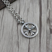 Floral Cross Circle Pendant 925 Sterling Silver