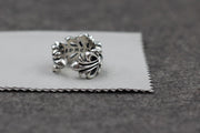 Floral Open Adjustable Ring Solid 925 Sterling Silver
