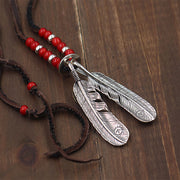 Goro's Classic Style Feather Pendant Solid 925 Sterling Silver Leather Necklace