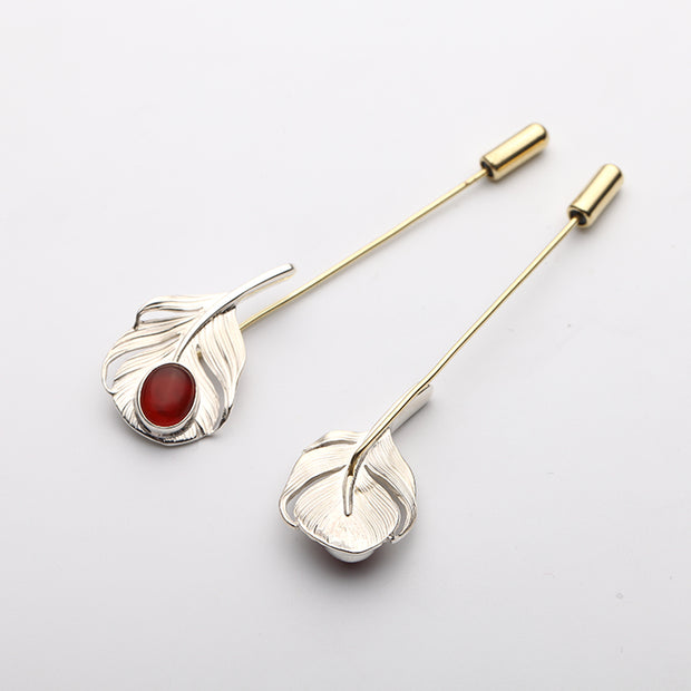 Feather Brooch Collar Pin Suit Pin Gemstone Lapel Pin for Men and Women