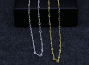 24K Plated Collar Chain Necklace Solid 925 Sterling Silver