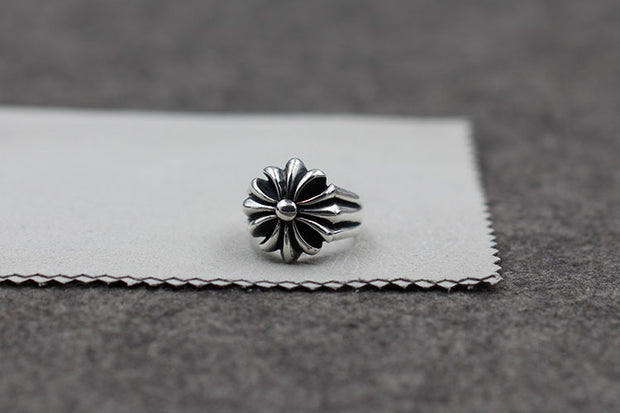 Floral Cross Ring Solid 925 Sterling Silver