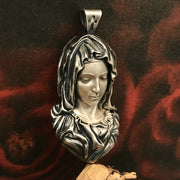 Blessed Virgin Mary and The Immaculate Heart of Mary Solid 925 Sterling Silver Pendant