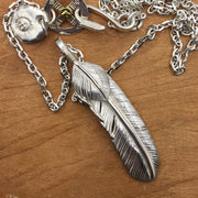 Solid Sterling Silver Sunflower Feather Pendant Necklace