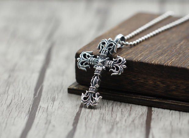 Floral Flame Cross Pendant Gothic Punk Rock Pendant  925 Sterling Silver