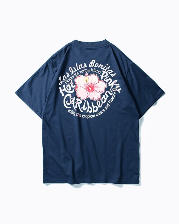 Tropical Hot Pinky Flower Caribbean Tee