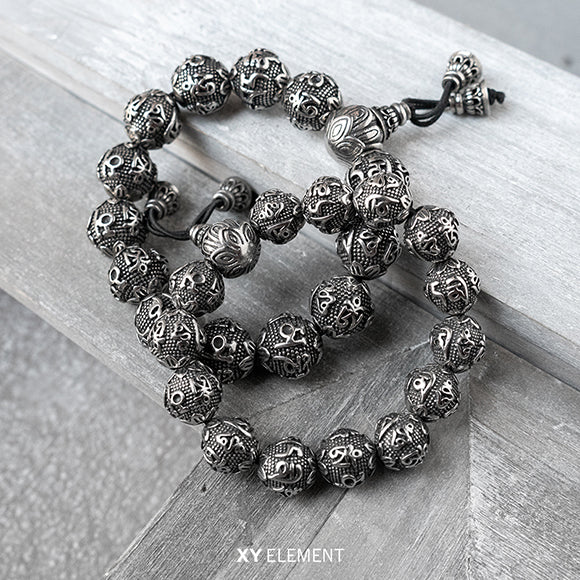 Ancient Lotus Prayer Beads Solid Titanium Steel Bracelet