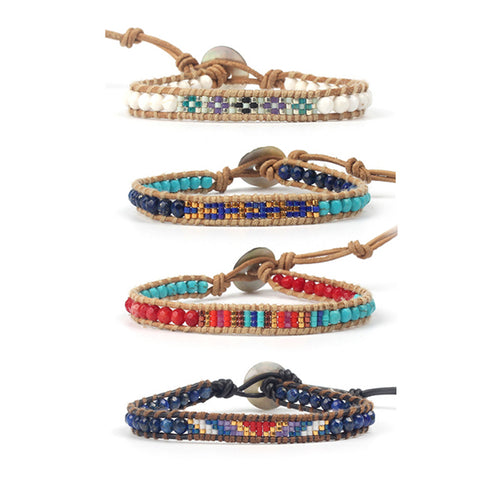 Multicolored Japan MIYUKI Seed Beads Quality Genuine Leather Bracelet [4 Variations]