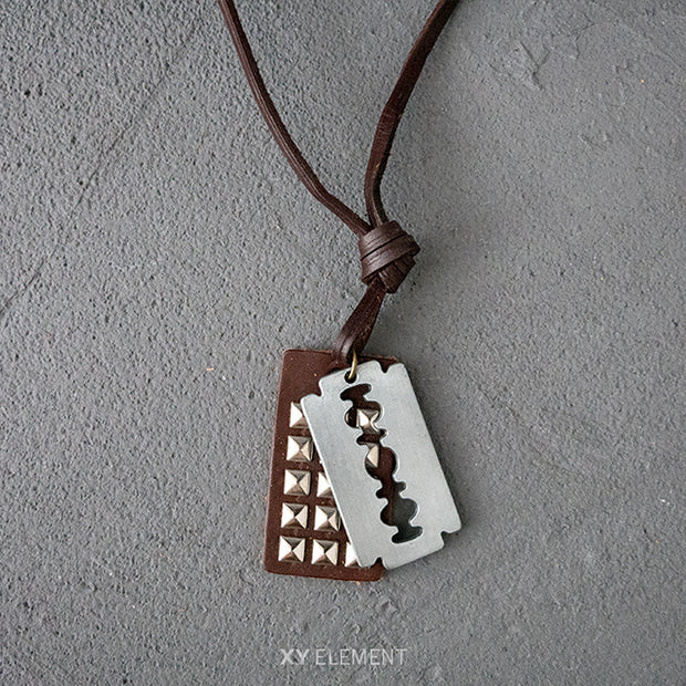 Brown Leather Metal Pendants Necklace