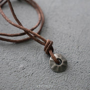 Leather Metal Pendant Necklace Surfer Choker Adjustable