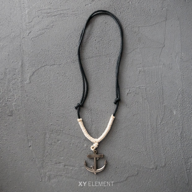 Metal Anchor Pendant Leather Necklace