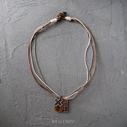 Leather Metal Necklace Surfer Choker