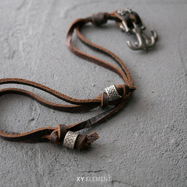 Leather Metal Skull Anchor Pendant Necklace Surfer Choker Adjustable