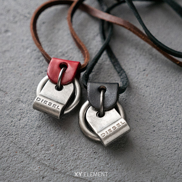 Leather Metal Pendant Adjustable Necklace