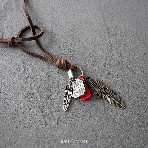 Leather Feather Tag Metal Pendant Necklace Surfer Choker Adjustable