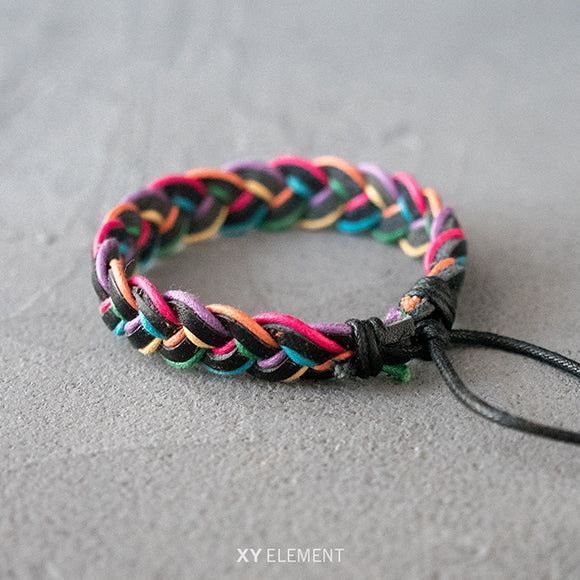 Color Braided Leather Bracelet
