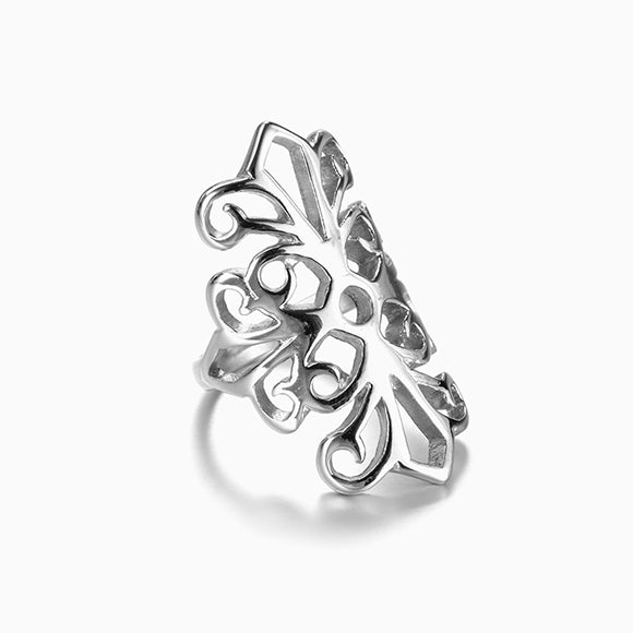Hollowed Cross Floral Titanium Steel Ring